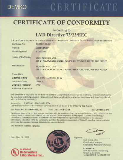 Jonizator wody Biontech 3000 certyfikat
